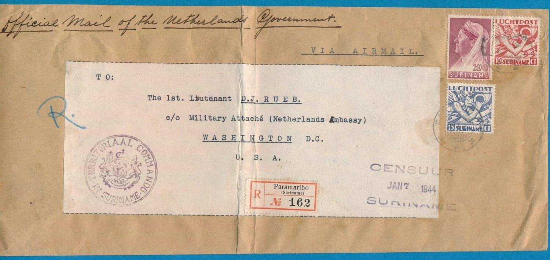 SURINAME R censuur brief 1944 Paramaribo naar USA