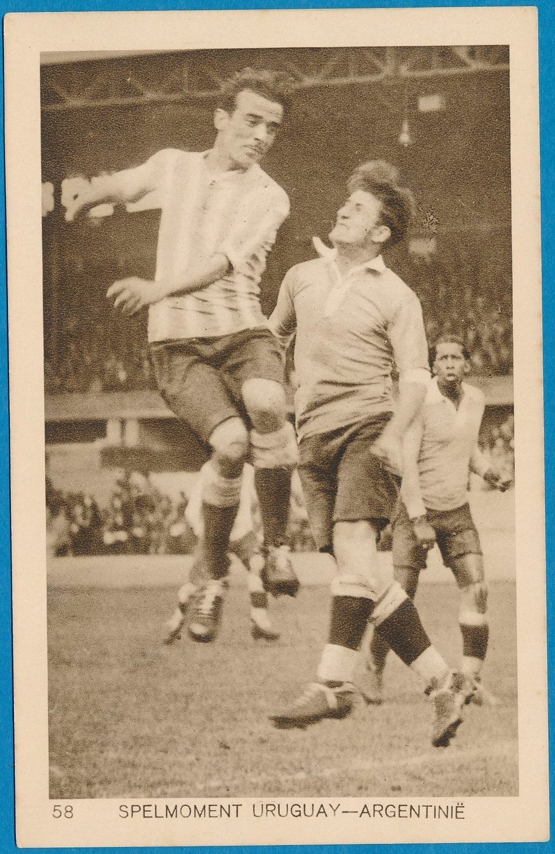 OLYMPIADE Amsterdam 1928 kaart voetbal Uruguay Argentinië spelmoment *