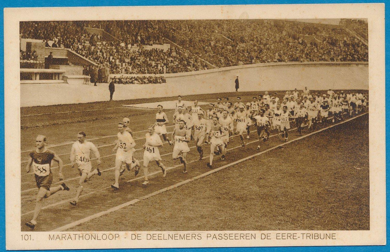 OLYMPIADE Amsterdam 1928 kaart marathon  voor de ere tribune *