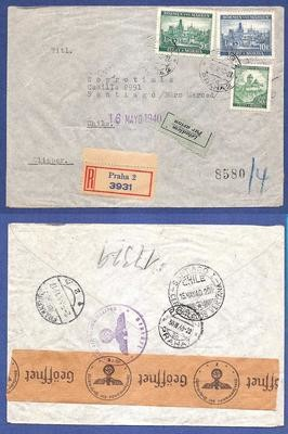 BOHEMEN MORAVIA R-airmail cover 1940 to Chile