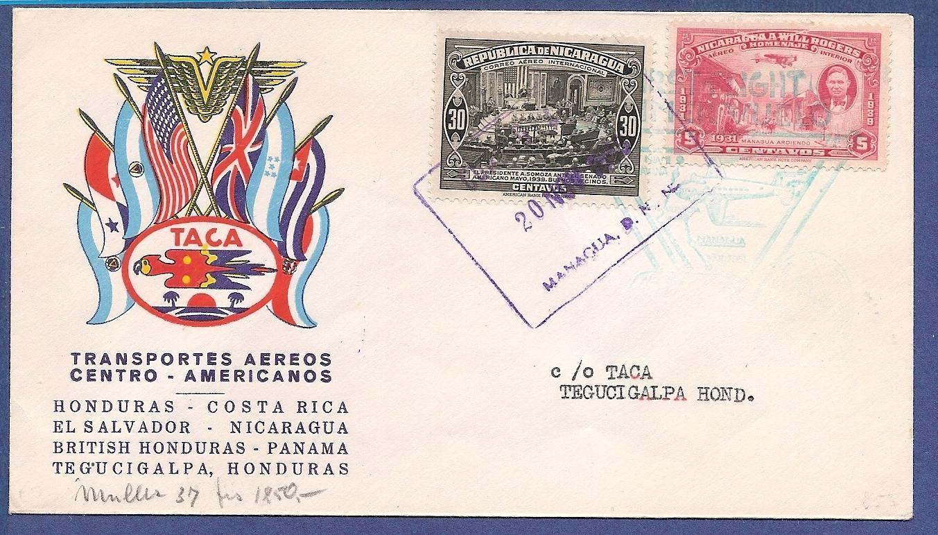 NICARAGUA TACA flight cover 1943 Nicaragua to Honduras