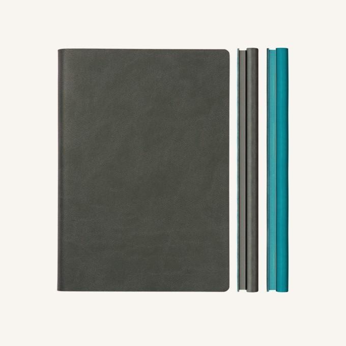 Signature Duo vonalas / pontozott jegyzetfüzet - A5 , szürke/kék