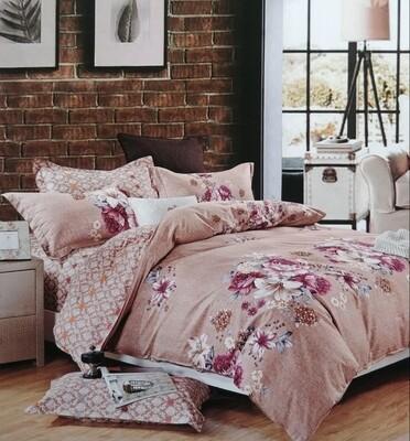 Crawford Red and Cream Stripe bedding set