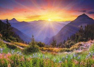 Солнце взошло. Фотообои, горы. Размер: 272х194см.