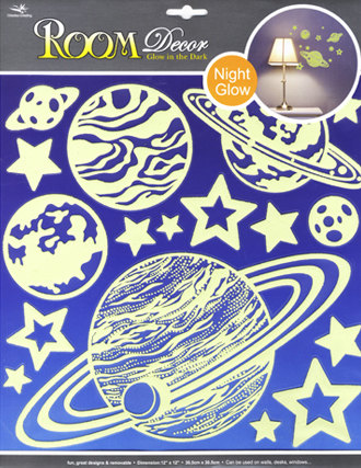 RDA8301V. Cветящиеся звезды наклейки. Размеры: 30,5х30,5 см. Количество: 17 элементов. Материал: ПВХ.