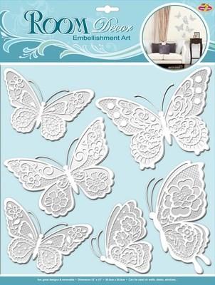 СВА 1402.Мерцающие бабочки-белые. Декоративные наклейки. Размеры: 30,5х30,5 см. Количество: 6 элементов. Материал: ПВХ,картон,блестки,многослойная.Слегка согнуть крылья вверх,чтобы придать 3D эффект.