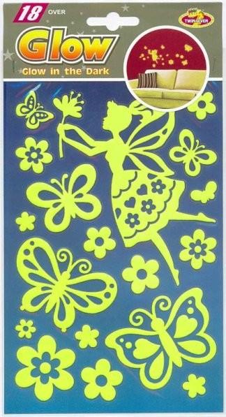 PUA 1008.Фея с бабочками (мини) Светящиеся детские наклейки, влагостойкие. Размеры: 14*21,5 см. Размеры: 18 элементов. Материал: ПВХ.