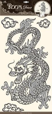 РОА 5931 (дракон) Стикеры наклейки на стену. Размер:32*60 см.Количество элементов:4 Материал:ПВХ,отделка по контуру и под металл, имитация страз, влагостойкие