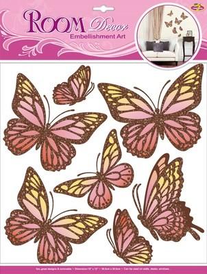 CBA3136.Тропические бабочки.Наклейки декоративные. Размеры: 30,5х30,5 см. Количество: 6 элементов. Материал: ПВХ, картон,блестки, крылья слегка сгибаются вверх,чтобы придать 3D эффект, многослойные .