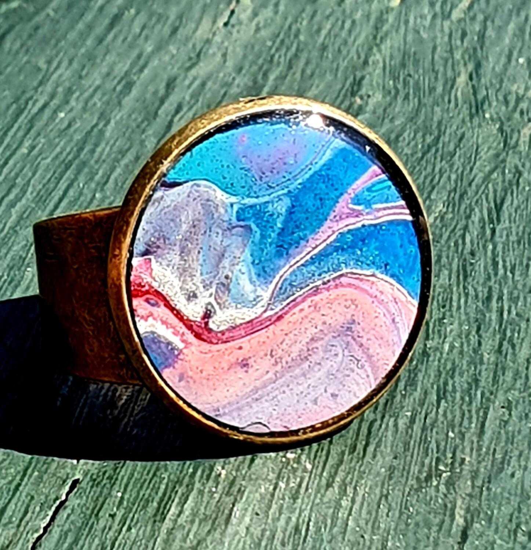 2 cm ring - blues & pale pinks