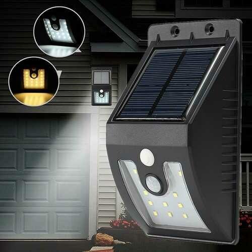 Solar Powered 16 LED PIR Motion Sensor Wall Light Outdoor Garden Waterproof Lamp