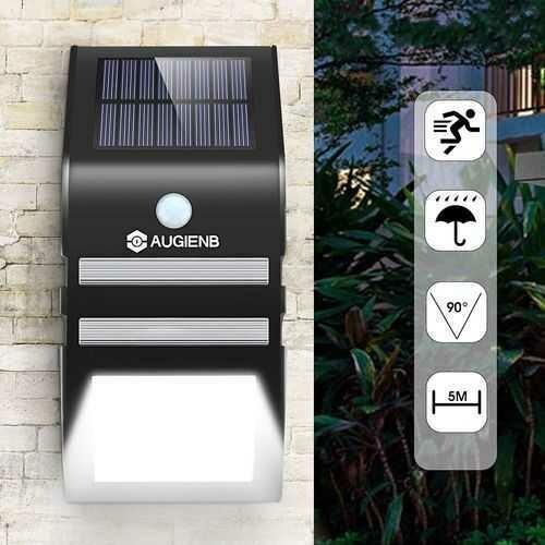 AUGIENB 33W PIR Motion Sensor Solar Light Wireless Waterproof Wall Lamp for Outdoor Garden