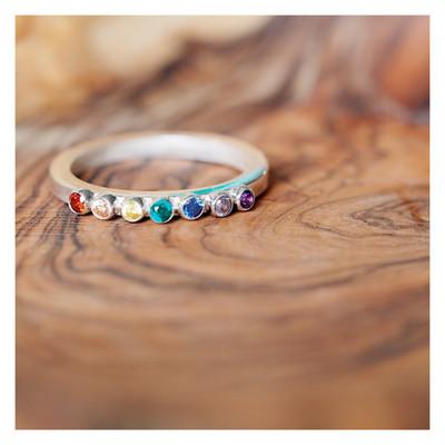 Sterling Silver Rainbow Gem Ring (2mm Gems)