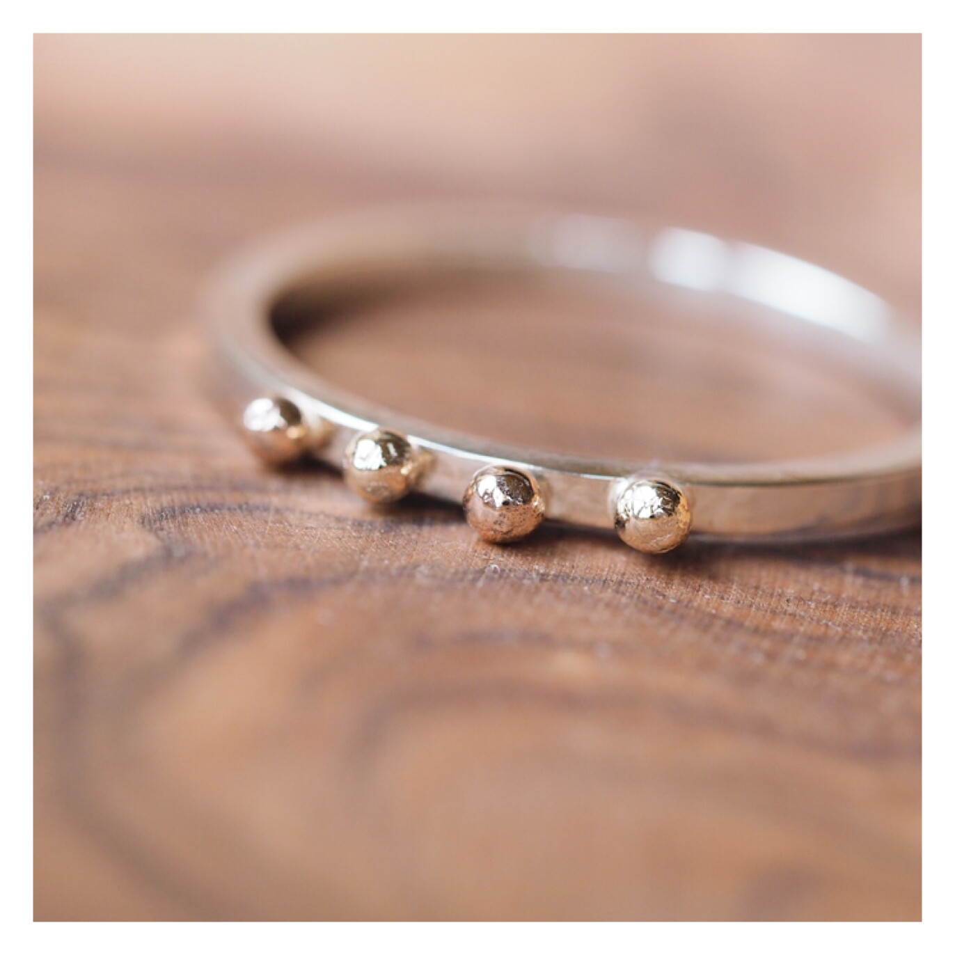 9ct Gold / Rose Gold and Silver Bobble Ring