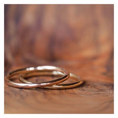 Solid 9ct Gold / Rose Gold Stacking Ring