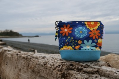Small Carry Case -Blue and Orange Floral