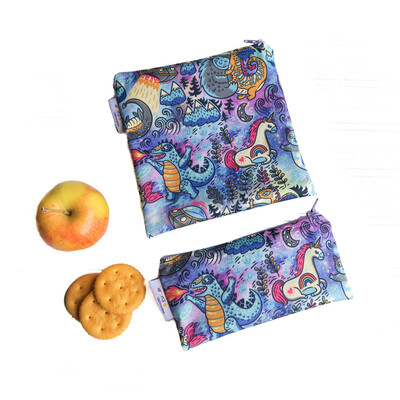 Reusable Snack and Sandwich Bag Set -Mythical Creatures