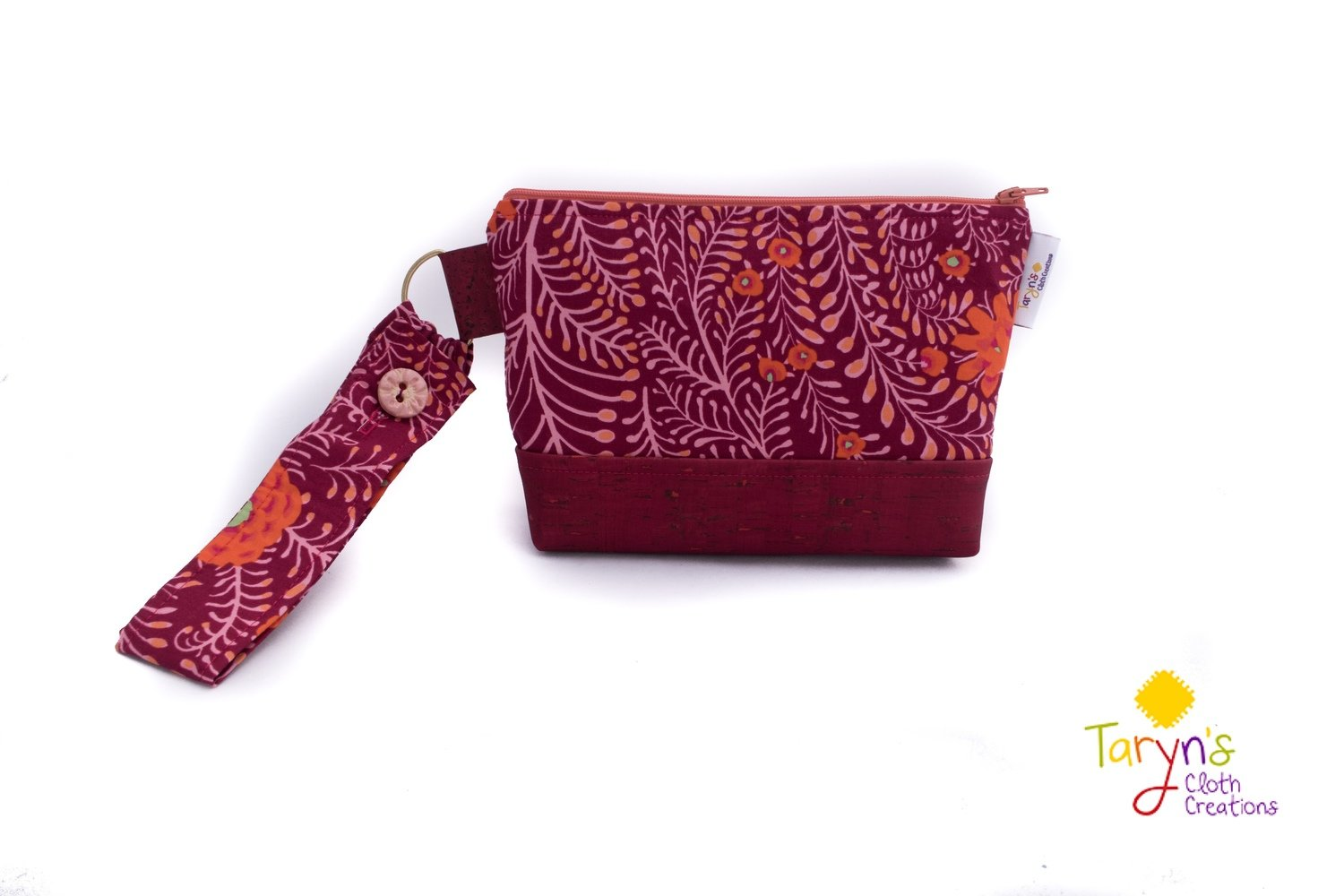 Large Cork Carry Case with Handle -Plum Floral