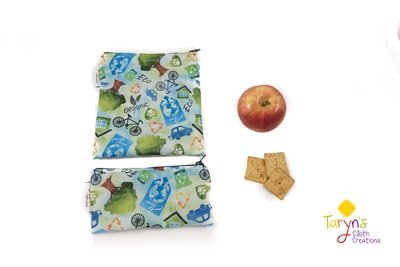 Reusable Snack and Sandwich Bag Set -Recycling Print