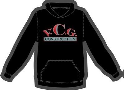 VCG Construction Logo Screen Printed Black Hoodie