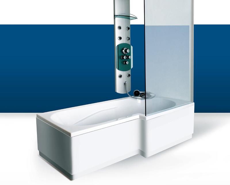Paroi de baignoire Innovativ en verre trempé d'épaisseur 8 mm avec profilé en inox chromé