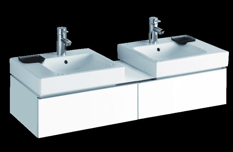 Meuble Keramag pour deux lavabos Keramag iCon 50 cm en blanc laqué ultra-brillant