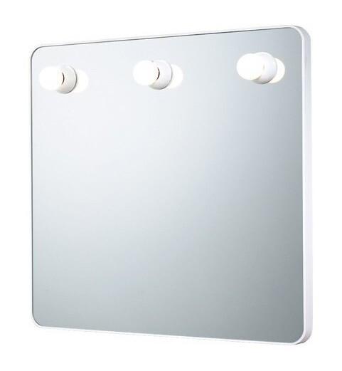 Miroir Dakota carré 55 cm avec cadre blanc et éclairage