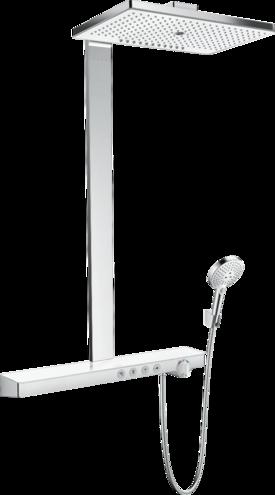 Colonne de douche Showerpipe Hansgrohe Rainmaker Select 460 3 jets avec mitigeur thermostatique blanc chromé
