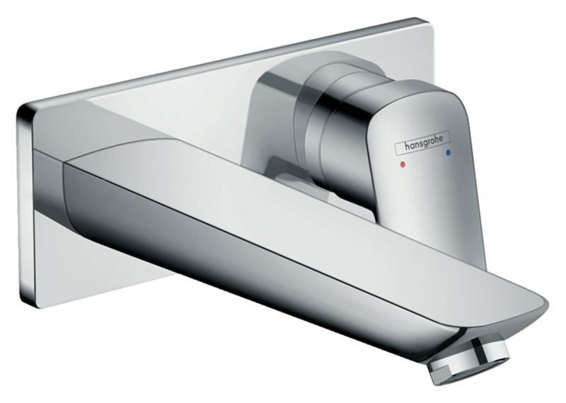 Mitigeur de lavabo encastré Hansgrohe Logis avec bec de 195 mm en laiton chromé