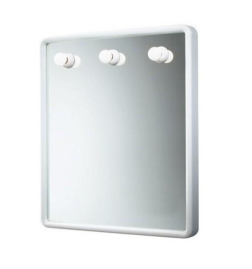 Miroir Dakota rectangulaire 60 cm avec cadre blanc et éclairage
