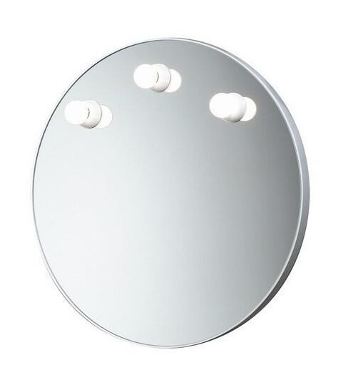 Miroir Dakota rond 60 cm avec cadre blanc et éclairage