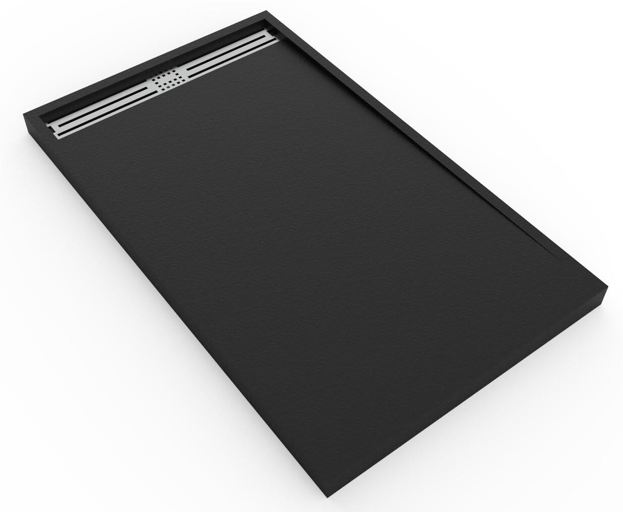 Receveur de douche rectangulaire Galaxite extra-plat et anti-dérapant (150 à 180) x 80 cm avec grille design en inox et siphon