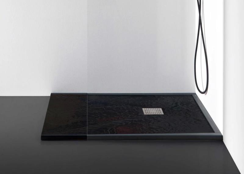Receveur Ardoisé 100 x 80 cm ou 120 x 80 cm avec grille design en inox et siphon