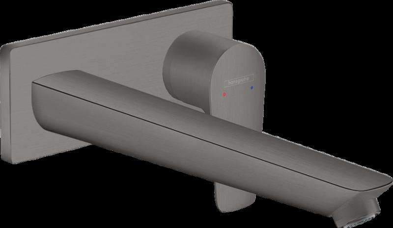 Mitigeur de lavabo encastré Hansgrohe Talis E avec bec de 225 mm en noir chromé brossé