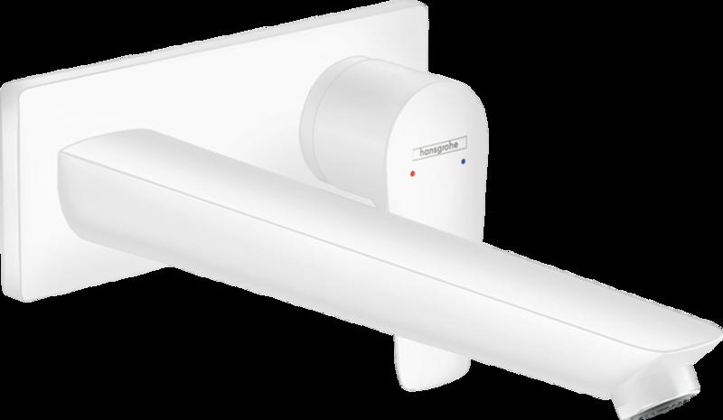 Mitigeur de lavabo encastré Hansgrohe Talis E avec bec de 225 mm en blanc mat