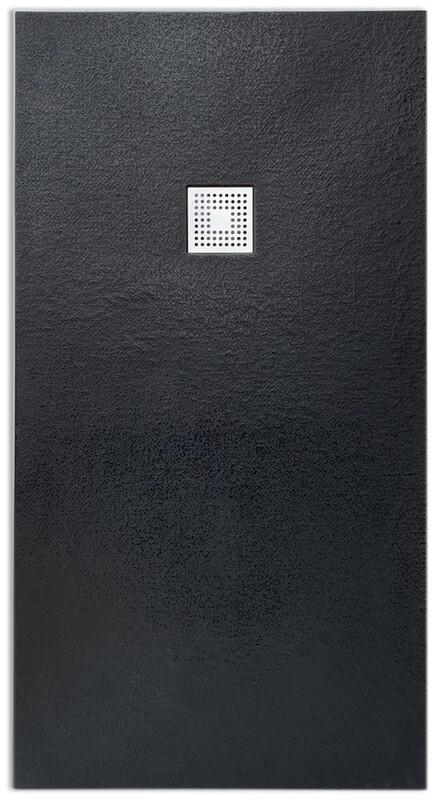 Receveur rectangulaire Vulcano extra-plat et anti-dérapant (130 à 150) x 80 cm avec grille design en inox et vidage