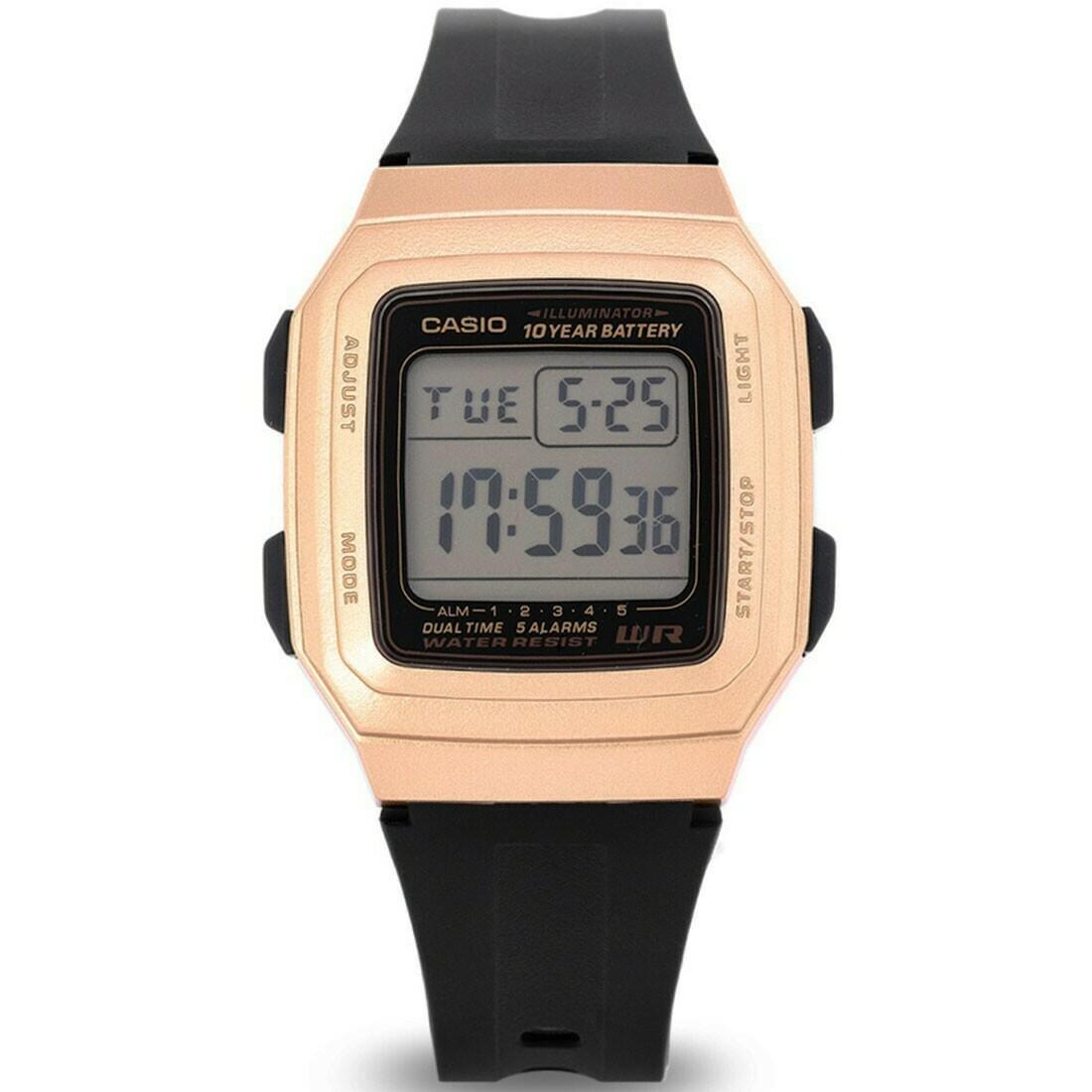 Reloj unisex Casio F201WAM-9A alarmas crono 34mm