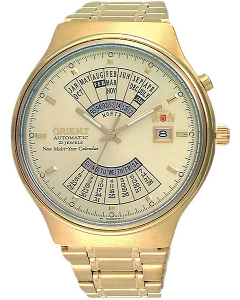 reloj hombre automático Orient multi-year FEU00008C dorado chocolate acero