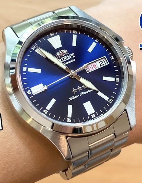 Reloj Automático Hombre Orient Tristar RA-AB0F09L dial azul acero