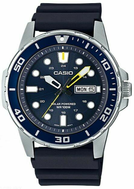 Reloj Buceo Hombre Casio SOLAR MTP-S110-2AV dial azul correa goma