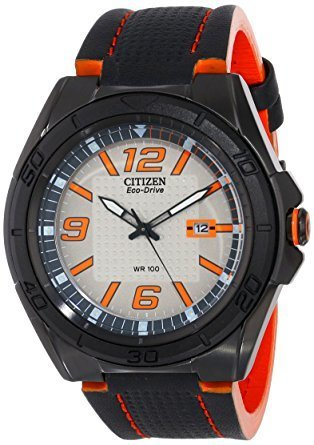 Reloj hombre Citizen Eco-Drive Men's AW1385-03H BRT Orange Accents Black Leather Strap Watch energía solar