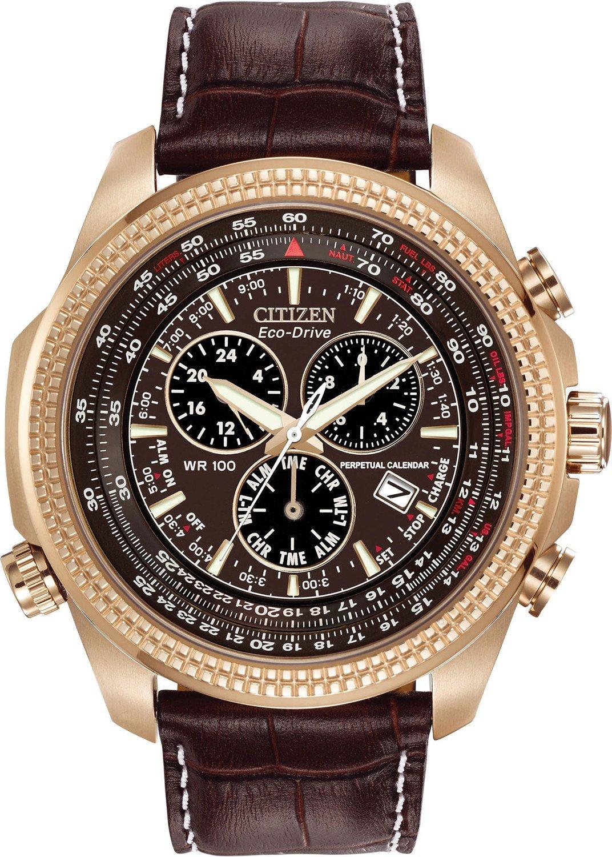 Citizen ECODRIVE Perpetual Calendar Chronograph Brown Dial Mens Watch BL5403-03X