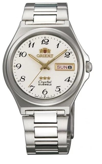 Reloj hombre automático Orient 3 Star FAB02004W BLANCO plata correa acero