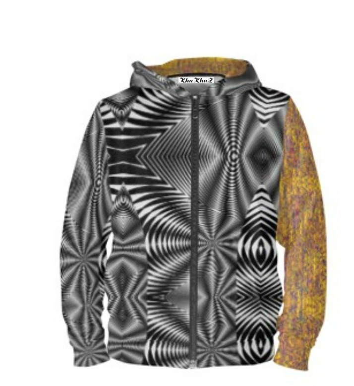 Yellow & Mauve Print & Black & White Print Hoodie Zipper - 3