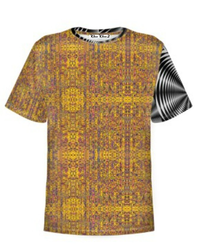 T-Shirt Cotton, Yellow, Black & White Sleeve Colour Block Print