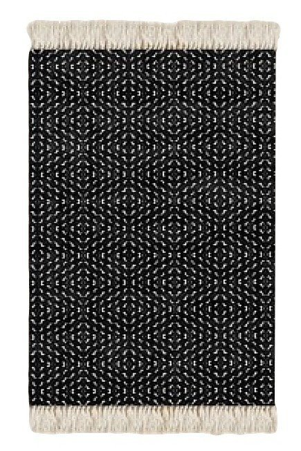 Floor Rug Black and White Print Design