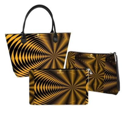 Black and Gold Abstract Handbag Set