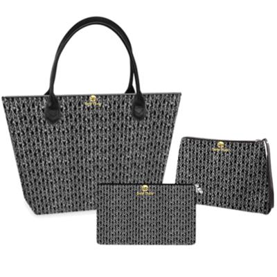 Black and White Weave Print Handbag set