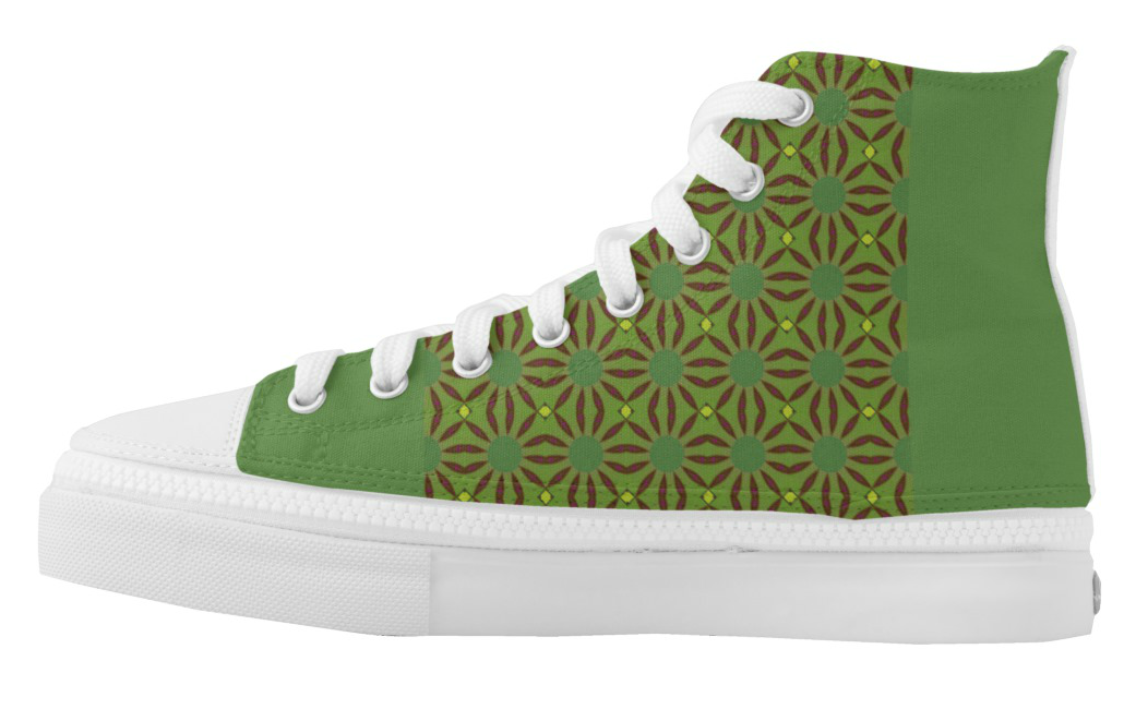 High Top Sneakers Black Diamonds & Green Print