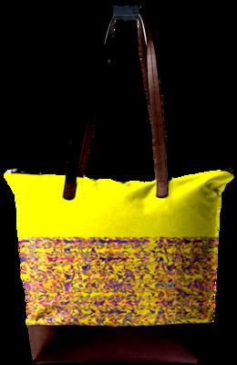 MULTI PRINT LEATHER BAG YELLOW PRINT DESIGN